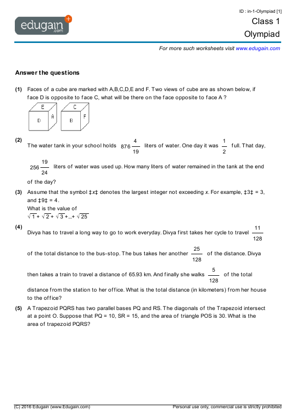 Grade 1 Olympiad: Printable Worksheets, Online Practice, Online Tests And  Problems Edugain Global
