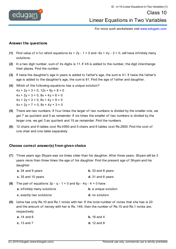Grade 10 Math Worksheets And Problems Linear Equations In Two Variables Edugain Indonesia