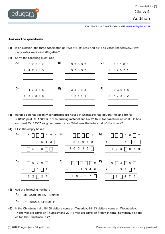 Grade 4 Math Worksheets And Problems: Addition Edugain Global