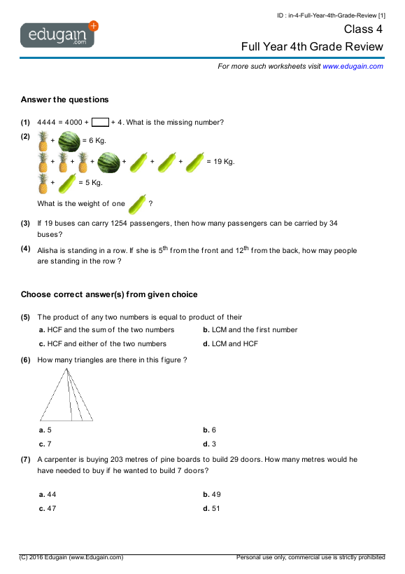 Grade 4 Math Worksheets And Problems: Full Year 4th Grade Review Edugain  Global