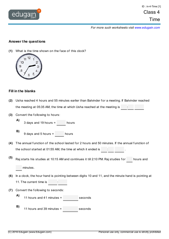 Grade 4 Math Worksheets And Problems: Time Edugain Global