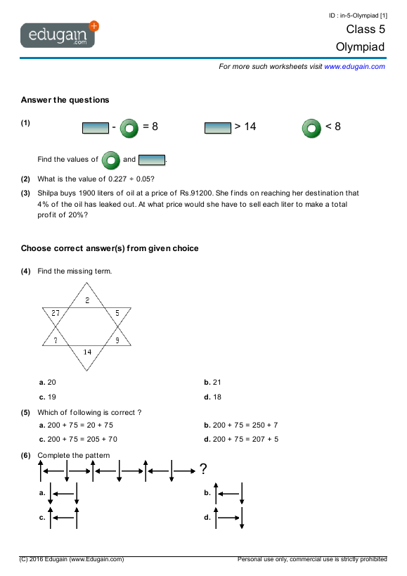 Grade 5 Olympiad Printable Worksheets Online Practice Online Tests And Problems Edugain Global