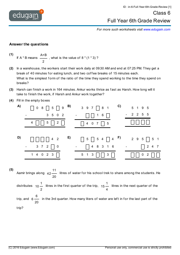 Grade 6 Math Worksheets And Problems