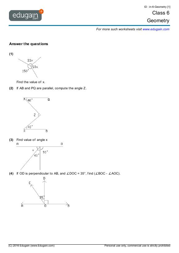 Grade 6 Math Worksheets And Problems Geometry Edugain Global